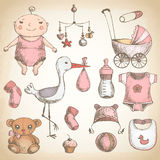 Ducha de bebé conjunto de la vendimia stock de ilustración