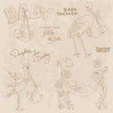 Ducha de bebé de la vendimia y Doodles de la llegada fijados Fotografía de archivo