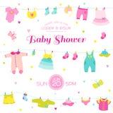 Ducha de bebé o tarjeta de llegada stock de ilustración