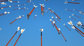 Ducha de las flechas que llueven abajo Imagen de archivo libre de regalías