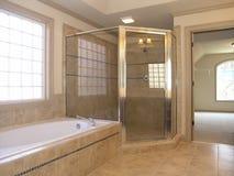 Ducha de lujo de la tina del cuarto de baño Imágenes de archivo libres de regalías