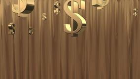 Ducha del dinero. Oro. ilustración del vector