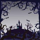 Ducha kasztel - Halloweenowy tło zdjęcia stock