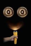 Ducha lub cyborga twarz w ciemności Obrazy Royalty Free