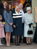 Duchess of Cornwall, Queen Elizabeth II, Duchess of Cambridge. Queen Elizabeth II, Camilla Duchess of Cornwall and Catherine Duchess of Cambridge visit Fortnum Stock Image