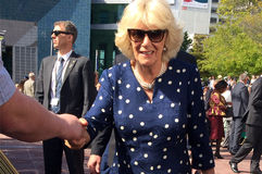 Duchess of Cornwall visit to Auckland New Zealand. AUCKLAND - NOV 08 2015:Duchess of Cornwall (C) arrive at Aotea Square, in Auckland New Zealand for a public Stock Photos