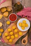 Duchess potatoes. Duchess potatoes on cutting board royalty free stock photo