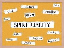 Duchowości Corkboard słowa pojęcie Zdjęcie Royalty Free