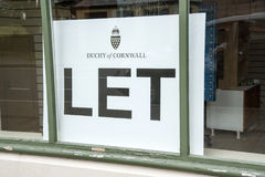 Duchy of Cornwall let sign in a store window Stock Photography