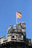 Duchy of Lancaster flag flying Lancaster Castle. Close up of the Duchy of Lancaster flag flying from a flagpole above John O`Guants Gateway at Lancaster Castle Stock Images