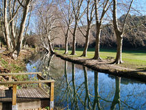 Duchy park in Uzes, Provence, France. A walk by the river Alzon in the valley of the Eure park near Uzes Stock Image