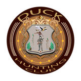 Duck иллюстрация вектора значка клуба звероловства в плоском стиле Стоковые Изображения