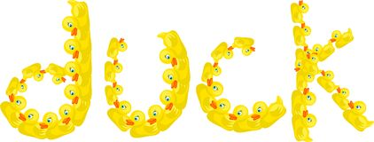 Duck. Cute illustration of the word DUCK made up of lots of little yellow ducks isolated on white Royalty Free Stock Images
