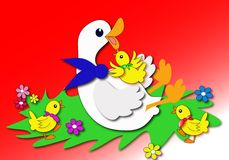 Duck. Mother duck is playing with little duck-easter spring time illustrtion Royalty Free Stock Photos