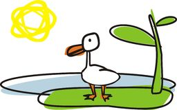 Duck. White graphic duck vecctor illustration Royalty Free Stock Photo
