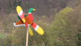 Duck as weather vane. Wooden Duck as colorful weather vane in the wind stock footage