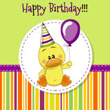 Duck with balloon. Greeting card Cute Duck with balloon and bonnet stock illustration