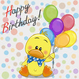 Duck with balloons. Greeting card Duck with balloons royalty free illustration
