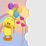 Duck with balloons. Greeting card Cute Duck is flying on balloons stock illustration
