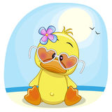 Duck on the beach. Cute Duck girl in sunglasses on the beach vector illustration