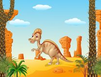 Duck billed hadrosaur in theprehistoric background Royalty Free Stock Image
