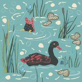 Duck Bird Seamless Pattern. Ducks on the lake. Royalty Free Stock Image