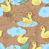 Duck bird seamless pattern Royalty Free Stock Photo