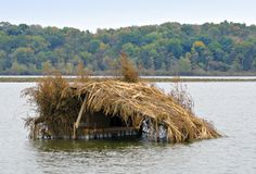 Duck Blind. Hunters duck blind in a lake Royalty Free Stock Photo