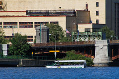 Duck Boat crossing the Charles River Royalty Free Stock Images