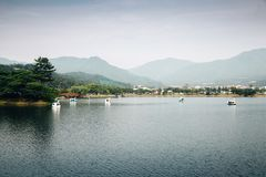 Duck boat on lake with mountain Royalty Free Stock Photos