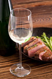 Duck Breast with Asparagus and Wine Royalty Free Stock Photo