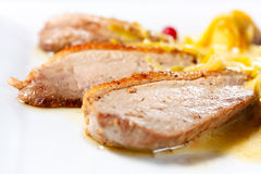 Duck Breast Baked with Apples and cranberries Stock Photo