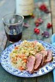 Duck breast with barley Royalty Free Stock Photography