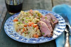 Duck breast with barley Royalty Free Stock Photo