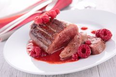 Duck breast and berry sauce Royalty Free Stock Image