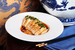 Duck breast in Chinese dragon vase still life painting sticks sauce sweet, sour chives Stock Photo