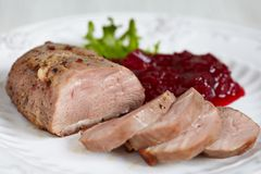 Duck breast with cranberry sauce Royalty Free Stock Photography