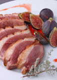 Duck breast and figs Royalty Free Stock Images