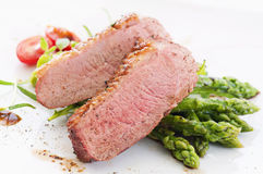 Duck Breast Fillet with Asparagus Royalty Free Stock Photography