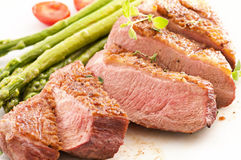 Duck Breast Fillet with Asparagus Stock Photo