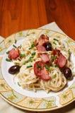 Duck breast and kalamata olives pasta Royalty Free Stock Photography