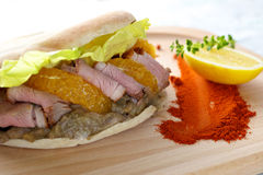 Duck Breast Kebab Sandwich Stock Image