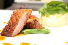 Duck breast with orange sauce Stock Photos