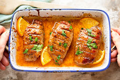 Duck breast in orange sauce marinade Royalty Free Stock Images