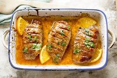 Duck breast in orange sauce marinade Royalty Free Stock Image