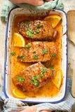Duck breast in orange sauce marinade Stock Image