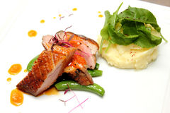 Duck breast with orange sauce and mash totato Royalty Free Stock Images