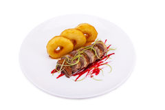 Duck Breast with pineapple. Isolated on white Royalty Free Stock Photos