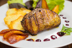 Duck breast with potato chips, herbs, sauce and caramelized apples. Wooden rustic table. Top view. Close-up Royalty Free Stock Photos