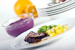 Duck breast with red cabbage Royalty Free Stock Images